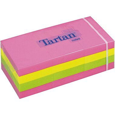 Tartan(TM) Haftnotiz Neon Notes 38 x 51 mm (B x H) pink, gelb, grün 100 Bl./Block 12 Block/Pack.