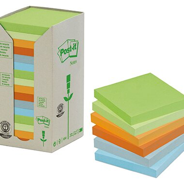 Post-it® Haftnotiz Recycling Pastell Rainbow Notes Tower 76 x 76 mm (B x H) grasgrün, hellgrün, bananengelb, mandarinenorange, himmelblau, hellblau 100 Bl./Block 16 Block/Pack.