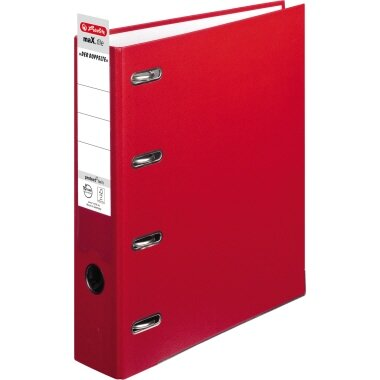 Herlitz Doppelordner maX.file protect 70mm 2 x DIN A5 quer 4 Bügel Pappe rot