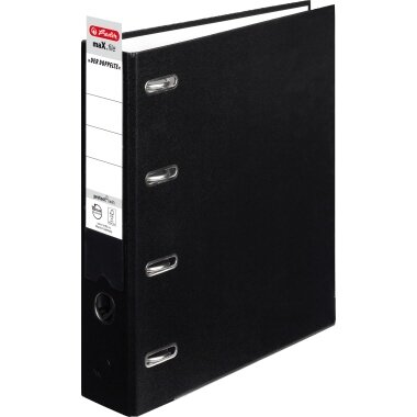 Herlitz Doppelordner maX.file protect 70mm 2 x DIN A5 quer 4 Bügel Pappe schwarz