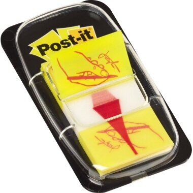 Post-it® Haftstreifen Index Symbol 25,4 x 43,2 mm (B x H) gelb 50 Bl.