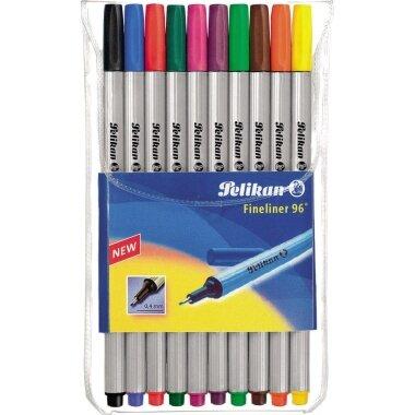 Pelikan Fineliner 96 0,4mm rot, blau, grün, schwarz, pink, violett, hellgrün, braun, orange, gelb 10 St./Pack.