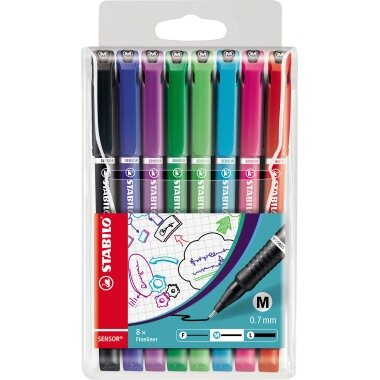STABILO® Fineliner SENSOR® 0,7mm grün, rot, blau, schwarz, hellgrün, türkis, pink, lila 8 St./Pack.