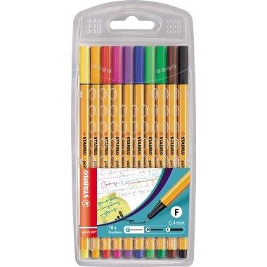 STABILO® Fineliner point 88® 0,4mm rot, blau, grün, schwarz, gelb, orange, violett, pink, hellgrün, braun 10 St./Pack.