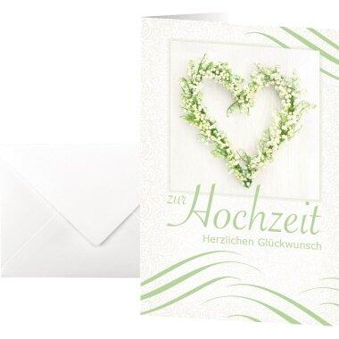 SIGEL Faltkarte Glückwunsch 220g/m˛ farbig Hochzeit 10 St./Pack.