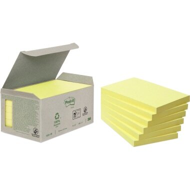 Post-it® Haftnotiz Recycling Notes 127 x 76 mm (B x H) gelb 100 Bl./Block 6 Block/Pack.