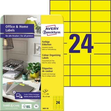 Avery Zweckform Universaletikett Home Office 70 x 37 mm (B x H) Papier gelb 240 Etik./Pack.
