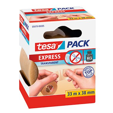 tesa® Packband tesapack® Express 38 mm x 33 m (B x L) PVC transparent